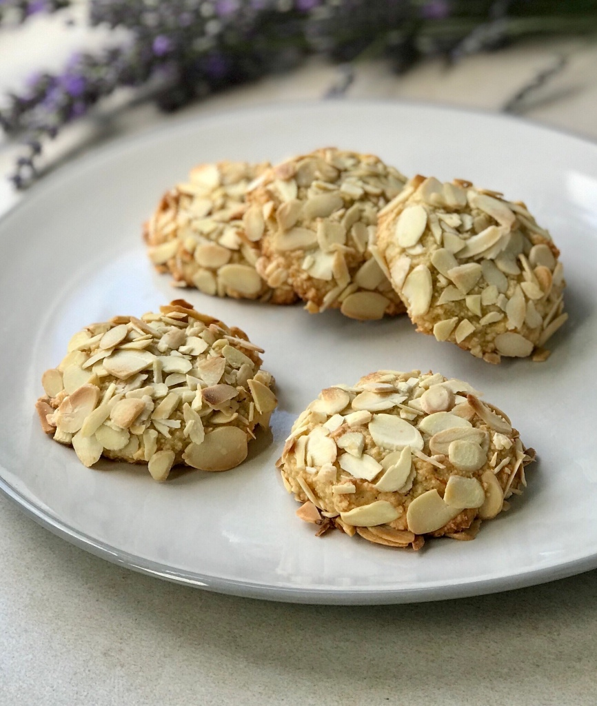 Orange and Almond cookies on a  plate